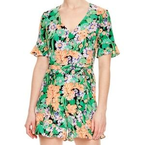 Sandro Pants - Sandro Eudelin Green Floral Romper Playsuit